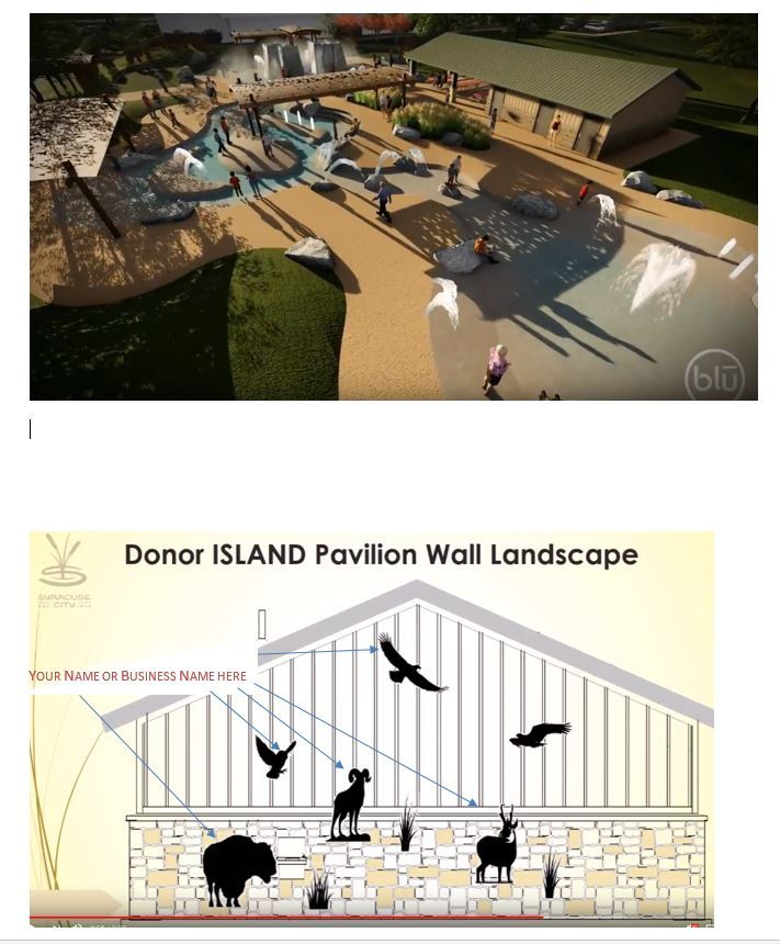 Mock Up of the Donor Pavilion Wall and Aerial View of the Island